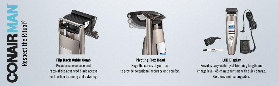 Conair Man i-Stubble Ultimate Flexhead Trimmer features